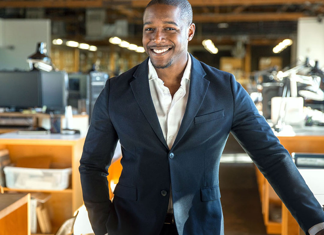 African american entrepreneur business owner ceo portrait at the